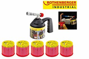 ROTHENBERGER Industrial RoFlame Economy Löt Lampen Set inkl. 5 Gas Kartuschen - 1000000985